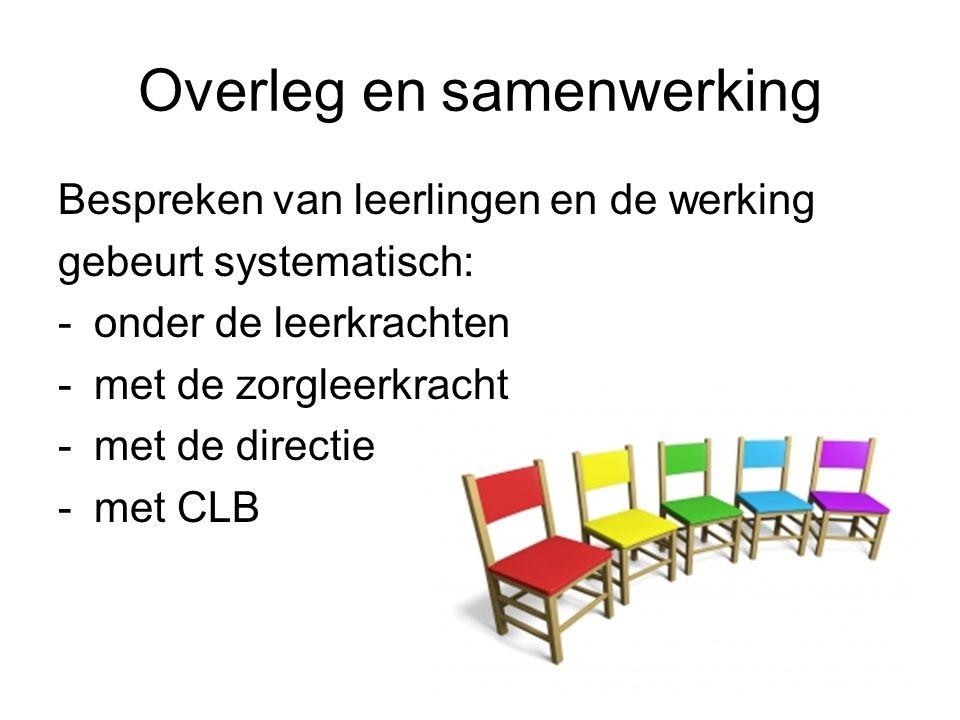 Overleg en samenwerking Bespreken van leerlingen en de werking gebeurt systematisch: -onder de leerkrachten -met de zorgleerkracht -met de directie -met CLB