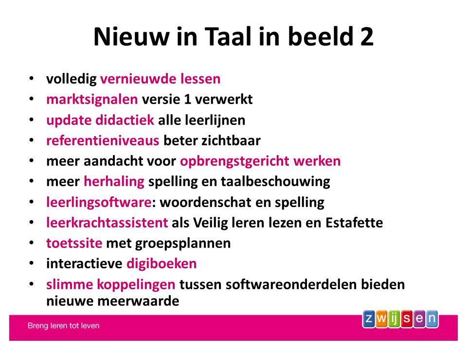 Nieuw in Taal in beeld 2 volledig vernieuwde lessen marktsignalen versie 1 verwerkt update didactiek alle leerlijnen referentieniveaus beter zichtbaar