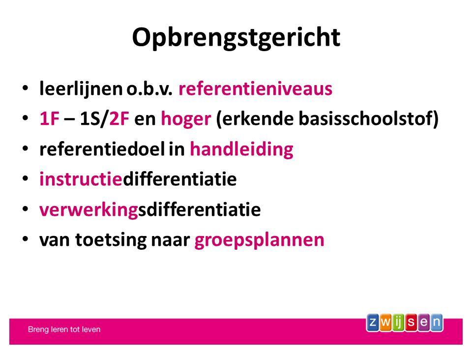 leerlijnen o.b.v. referentieniveaus 1F – 1S/2F en hoger (erkende basisschoolstof) referentiedoel in handleiding instructiedifferentiatie verwerkingsdi