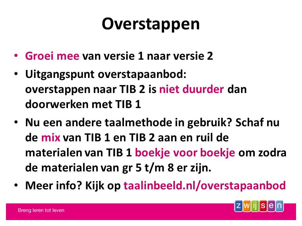 Overstappen Groei mee van versie 1 naar versie 2 Uitgangspunt overstapaanbod: overstappen naar TIB 2 is niet duurder dan doorwerken met TIB 1 Nu een andere taalmethode in gebruik.