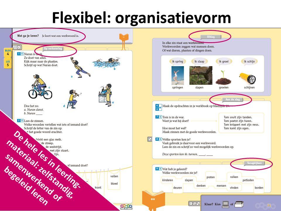 Flexibel: organisatievorm De hele les in leerling- materiaal: zelfstandig, samenwerkend of begeleid leren