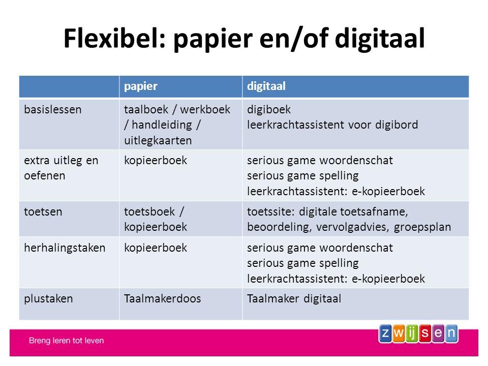 Flexibel: papier en/of digitaal papierdigitaal basislessentaalboek / werkboek / handleiding / uitlegkaarten digiboek leerkrachtassistent voor digibord