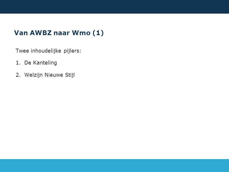 Van AWBZ naar Wmo (1) Twee inhoudelijke pijlers: 1.De Kanteling 2.Welzijn Nieuwe Stijl 29/05/2016