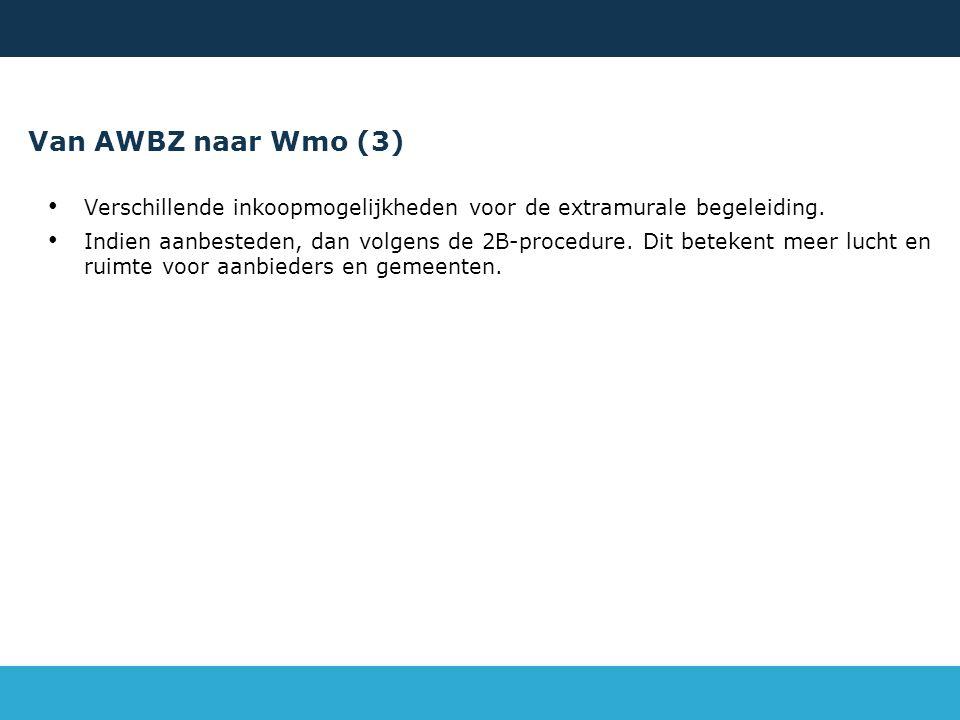 Van AWBZ naar Wmo (3) Verschillende inkoopmogelijkheden voor de extramurale begeleiding.