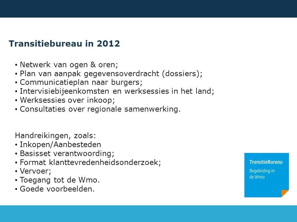 Transitiebureau in 2012 Netwerk van ogen & oren; Plan van aanpak gegevensoverdracht (dossiers); Communicatieplan naar burgers; Intervisiebijeenkomsten en werksessies in het land; Werksessies over inkoop; Consultaties over regionale samenwerking.