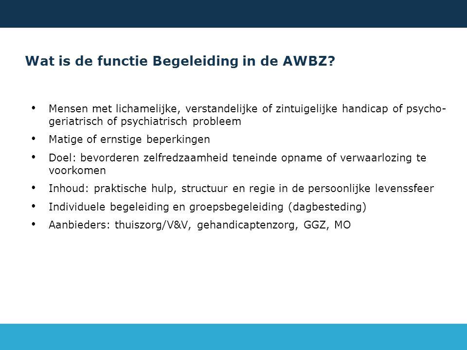 Wat is de functie Begeleiding in de AWBZ.