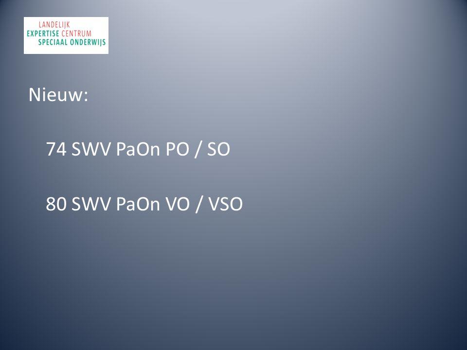 Nieuw: 74 SWV PaOn PO / SO 80 SWV PaOn VO / VSO