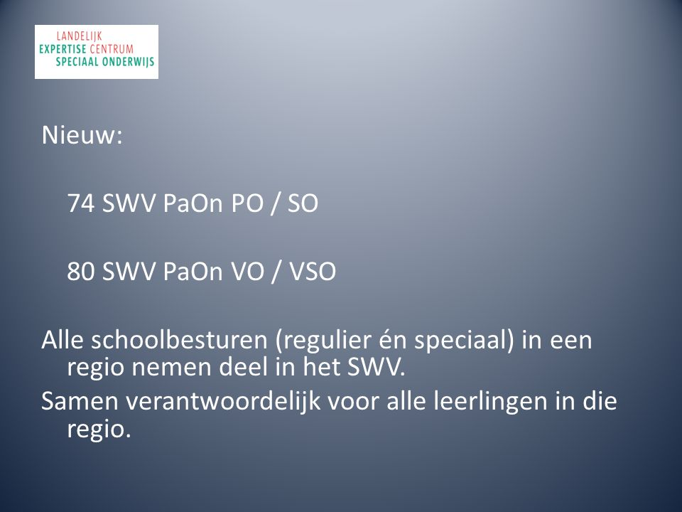 Nieuw: 74 SWV PaOn PO / SO 80 SWV PaOn VO / VSO Alle schoolbesturen (regulier én speciaal) in een regio nemen deel in het SWV. Samen verantwoordelijk