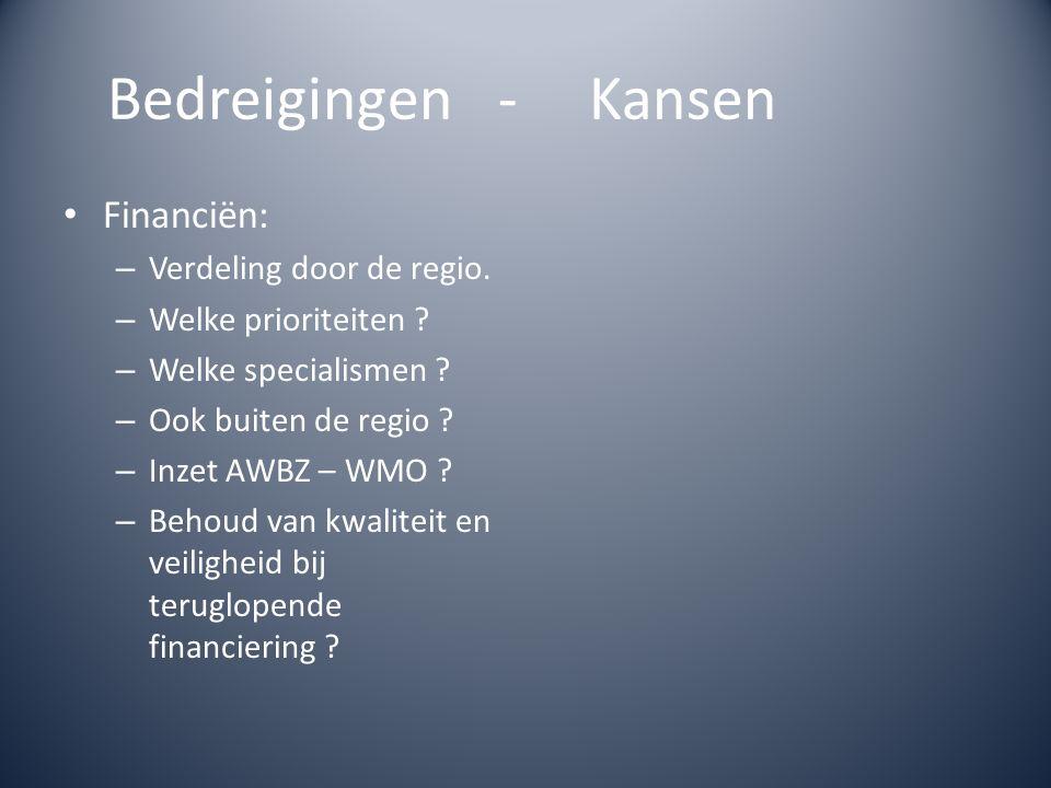 Financiën: – Verdeling door de regio. – Welke prioriteiten ? – Welke specialismen ? – Ook buiten de regio ? – Inzet AWBZ – WMO ? – Behoud van kwalitei