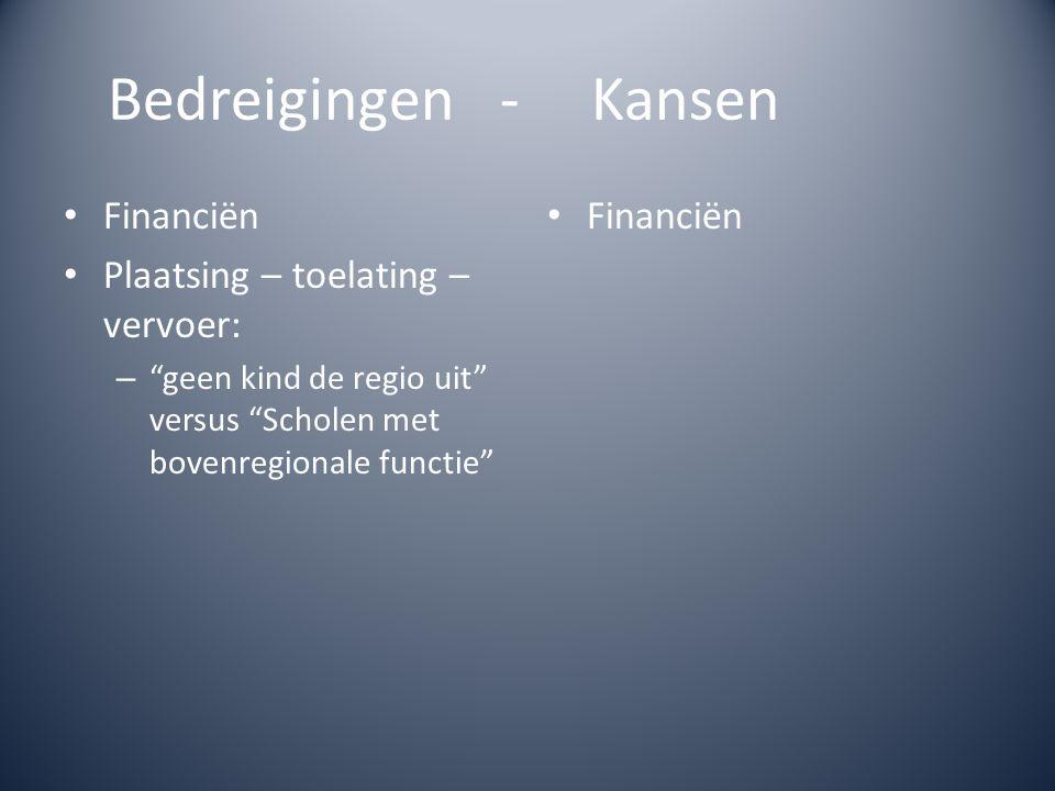 Bedreigingen - Kansen Financiën Plaatsing – toelating – vervoer: – geen kind de regio uit versus Scholen met bovenregionale functie Financiën
