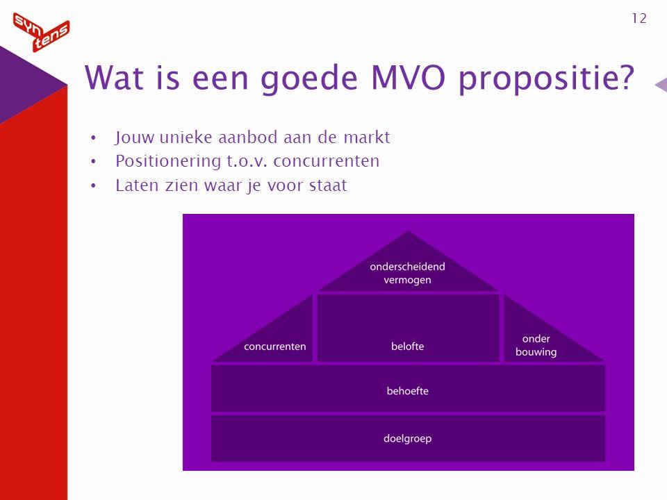 12 Wat is een goede MVO propositie. Jouw unieke aanbod aan de markt Positionering t.o.v.