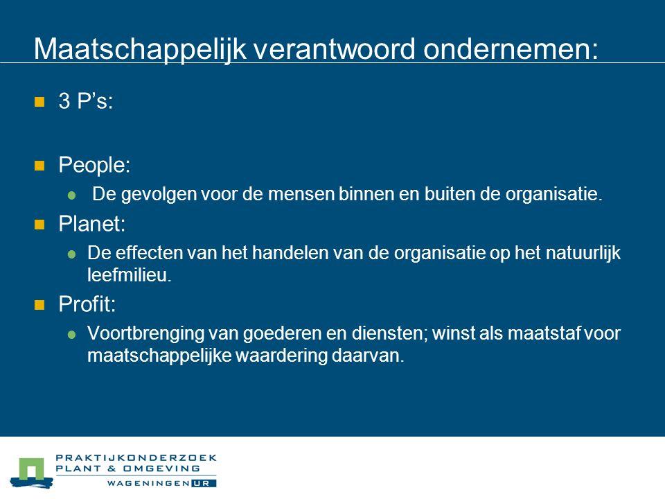 Maatschappelijk verantwoord ondernemen: 3 P's: People: De gevolgen voor de mensen binnen en buiten de organisatie.