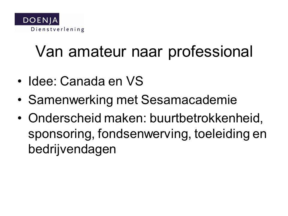 Van amateur naar professional Idee: Canada en VS Samenwerking met Sesamacademie Onderscheid maken: buurtbetrokkenheid, sponsoring, fondsenwerving, toe