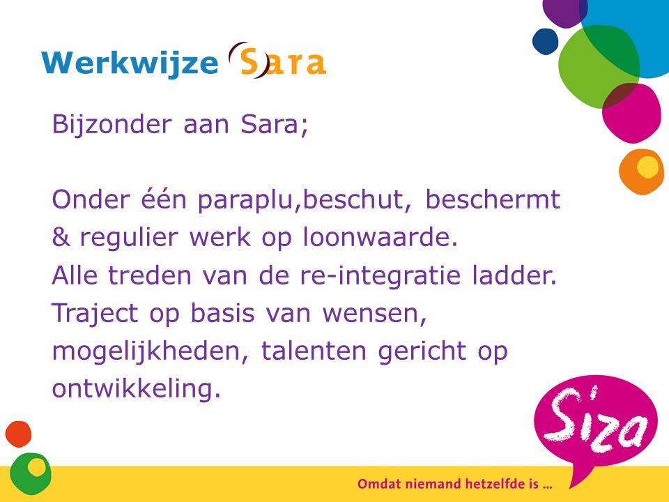 Werkwijze Bijzonder aan Sara; Onder één paraplu,beschut, beschermt & regulier werk op loonwaarde.
