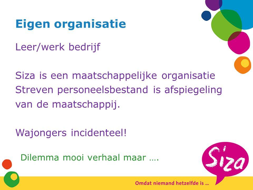 Eigen organisatie Leer/werk bedrijf Siza is een maatschappelijke organisatie Streven personeelsbestand is afspiegeling van de maatschappij.