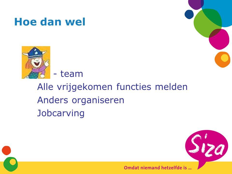 Hoe dan wel -team Alle vrijgekomen functies melden Anders organiseren Jobcarving