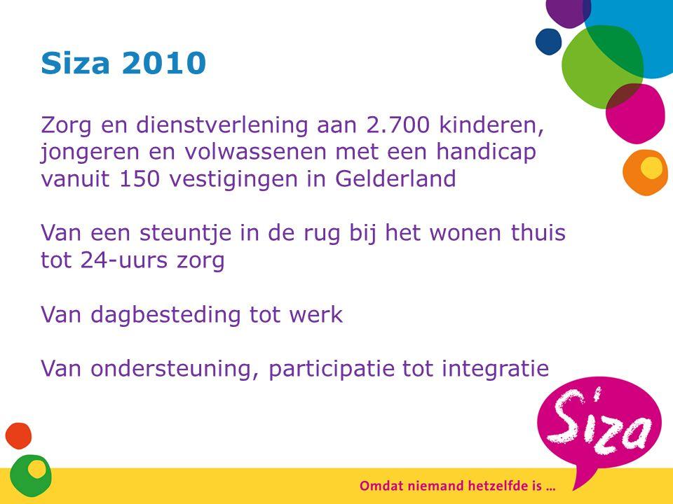 Siza 2010 Zorg en dienstverlening aan 2.700 kinderen, jongeren en volwassenen met een handicap vanuit 150 vestigingen in Gelderland Van een steuntje in de rug bij het wonen thuis tot 24-uurs zorg Van dagbesteding tot werk Van ondersteuning, participatie tot integratie