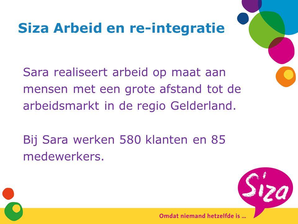 Siza Arbeid en re-integratie Sara realiseert arbeid op maat aan mensen met een grote afstand tot de arbeidsmarkt in de regio Gelderland.