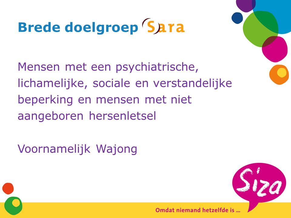 Brede doelgroep Mensen met een psychiatrische, lichamelijke, sociale en verstandelijke beperking en mensen met niet aangeboren hersenletsel Voornamelijk Wajong