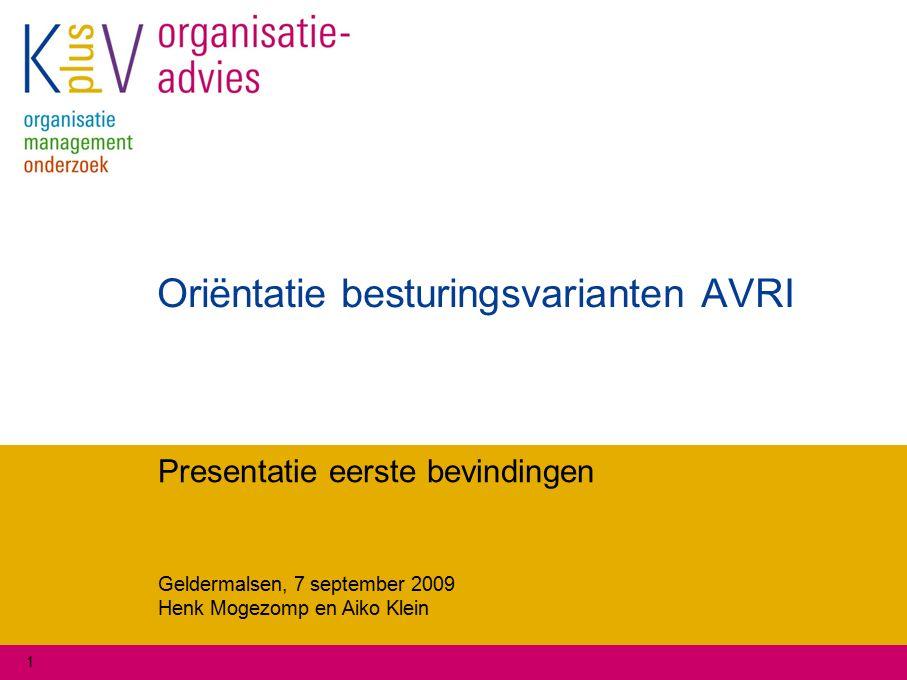 Geldermalsen, 7 september 2009 Henk Mogezomp en Aiko Klein 1 Oriëntatie besturingsvarianten AVRI Presentatie eerste bevindingen