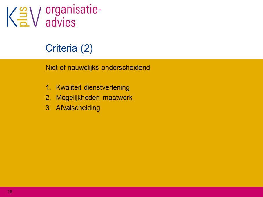 Criteria (2) Niet of nauwelijks onderscheidend 1.Kwaliteit dienstverlening 2.Mogelijkheden maatwerk 3.Afvalscheiding 16