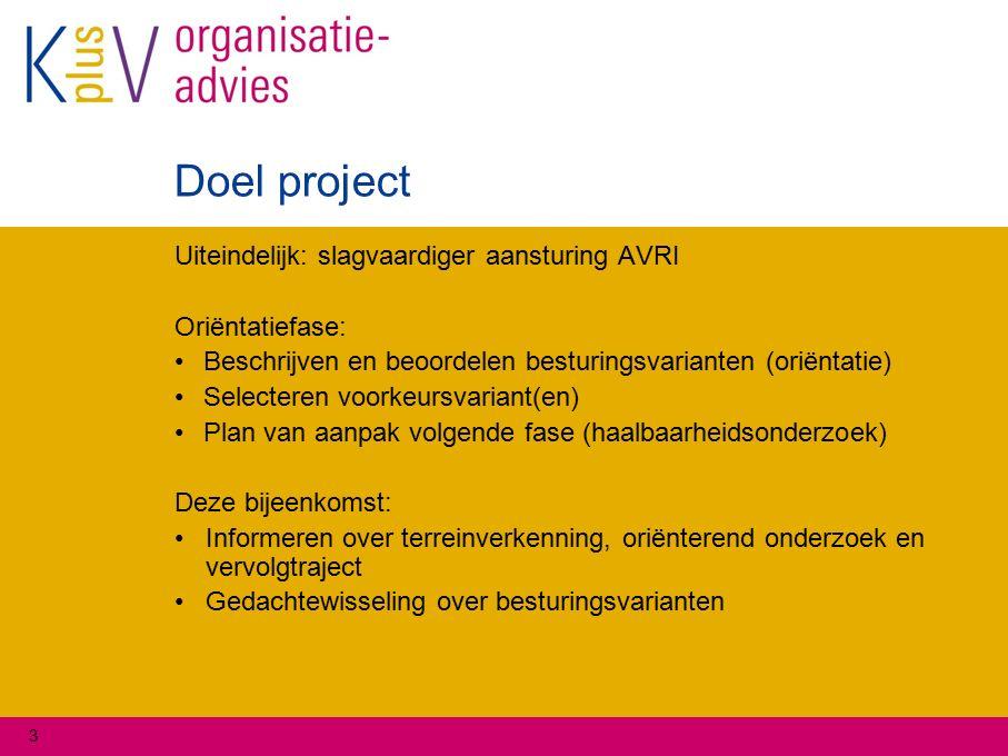3 Doel project Uiteindelijk: slagvaardiger aansturing AVRI Oriëntatiefase: Beschrijven en beoordelen besturingsvarianten (oriëntatie) Selecteren voork