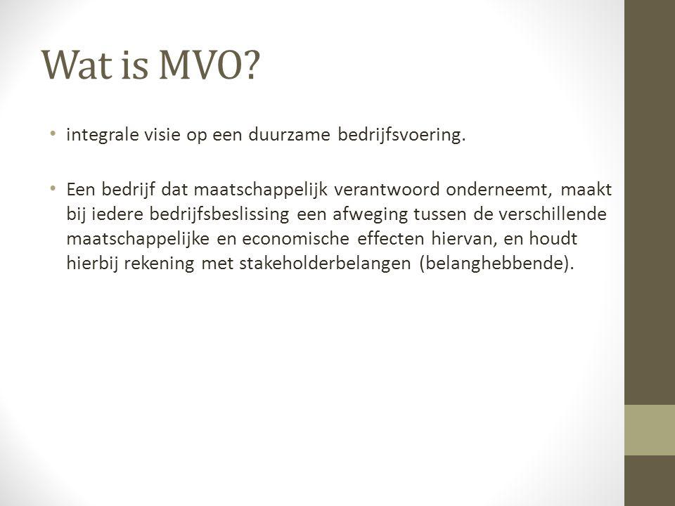 Wat is MVO. integrale visie op een duurzame bedrijfsvoering.