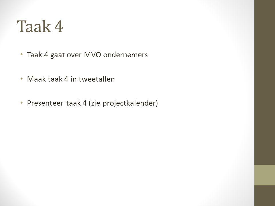 Taak 4 Taak 4 gaat over MVO ondernemers Maak taak 4 in tweetallen Presenteer taak 4 (zie projectkalender)