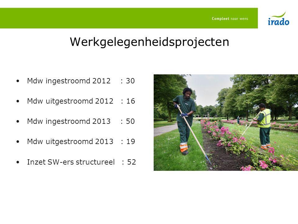 Werkgelegenheidsprojecten Mdw ingestroomd 2012 : 30 Mdw uitgestroomd 2012 : 16 Mdw ingestroomd 2013 : 50 Mdw uitgestroomd 2013 : 19 Inzet SW-ers structureel : 52