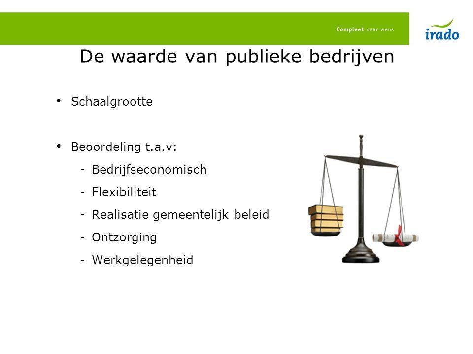De waarde van publieke bedrijven Schaalgrootte Beoordeling t.a.v: -Bedrijfseconomisch -Flexibiliteit -Realisatie gemeentelijk beleid -Ontzorging -Werkgelegenheid