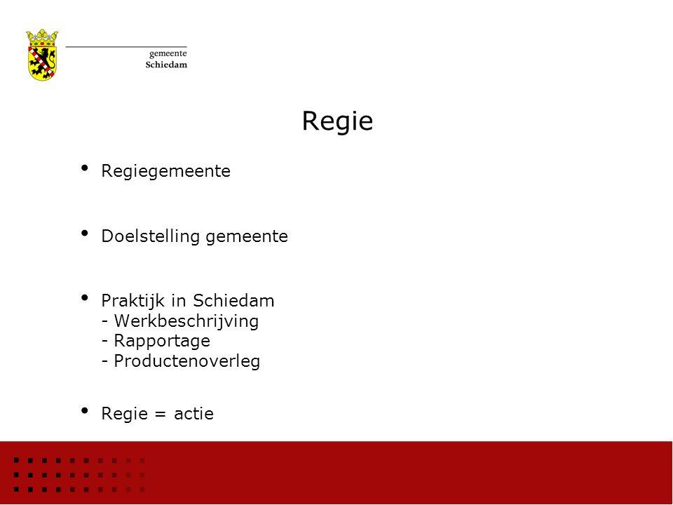 Regie Regiegemeente Doelstelling gemeente Praktijk in Schiedam -Werkbeschrijving -Rapportage -Productenoverleg Regie = actie