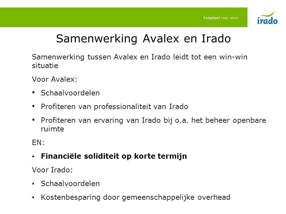 Samenwerking Avalex en Irado Samenwerking tussen Avalex en Irado leidt tot een win-win situatie Voor Avalex: Schaalvoordelen Profiteren van professionaliteit van Irado Profiteren van ervaring van Irado bij o.a.