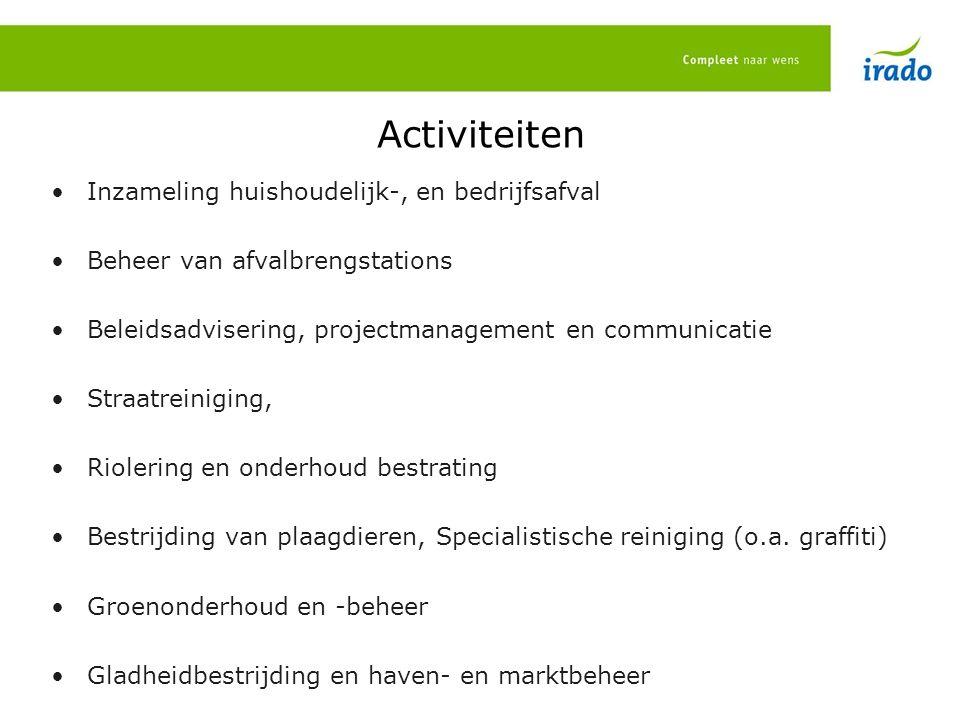 Activiteiten Inzameling huishoudelijk-, en bedrijfsafval Beheer van afvalbrengstations Beleidsadvisering, projectmanagement en communicatie Straatrein