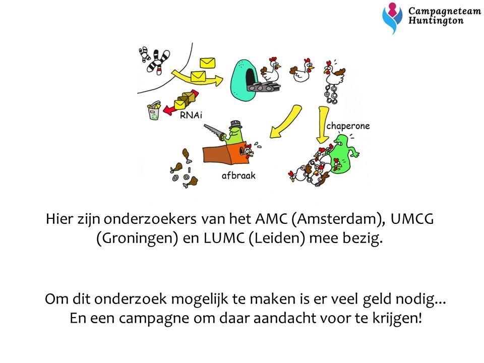 Hier zijn onderzoekers van het AMC (Amsterdam), UMCG (Groningen) en LUMC (Leiden) mee bezig. Om dit onderzoek mogelijk te maken is er veel geld nodig.