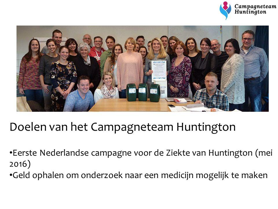 Doelen van het Campagneteam Huntington Eerste Nederlandse campagne voor de Ziekte van Huntington (mei 2016) Geld ophalen om onderzoek naar een medicij