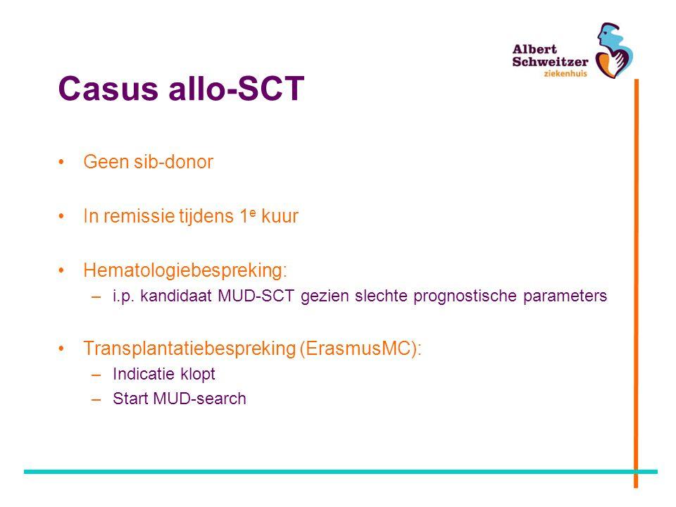 Casus allo-SCT Geen sib-donor In remissie tijdens 1 e kuur Hematologiebespreking: –i.p.