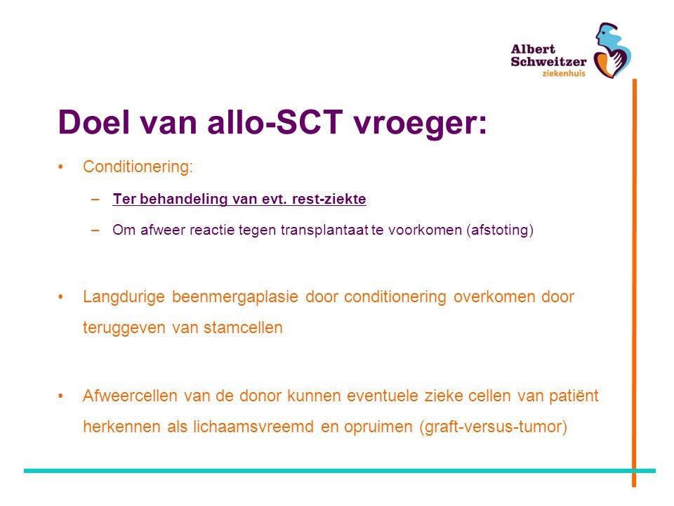 Casus allo-PSCT Behandeling: –Tazocin / Tobramycine –Beenmergpunctie –Voorbereiding intensieve chemo Beenmerguitslag –90% blasten –Passend bij AML Cytogenetica: 5q- Moleculaire diagnostiek: EVI-1 mutatie