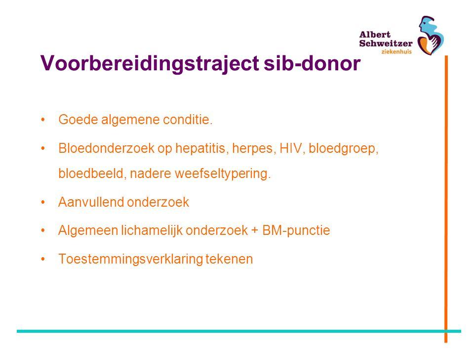 Voorbereidingstraject sib-donor Goede algemene conditie.