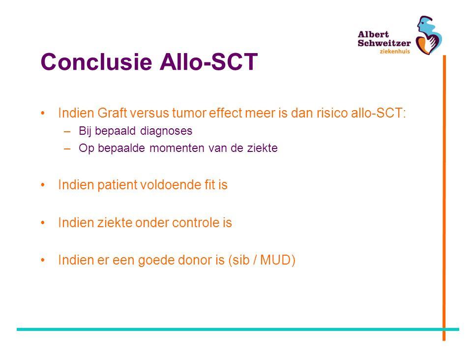 Conclusie Allo-SCT Indien Graft versus tumor effect meer is dan risico allo-SCT: –Bij bepaald diagnoses –Op bepaalde momenten van de ziekte Indien patient voldoende fit is Indien ziekte onder controle is Indien er een goede donor is (sib / MUD)