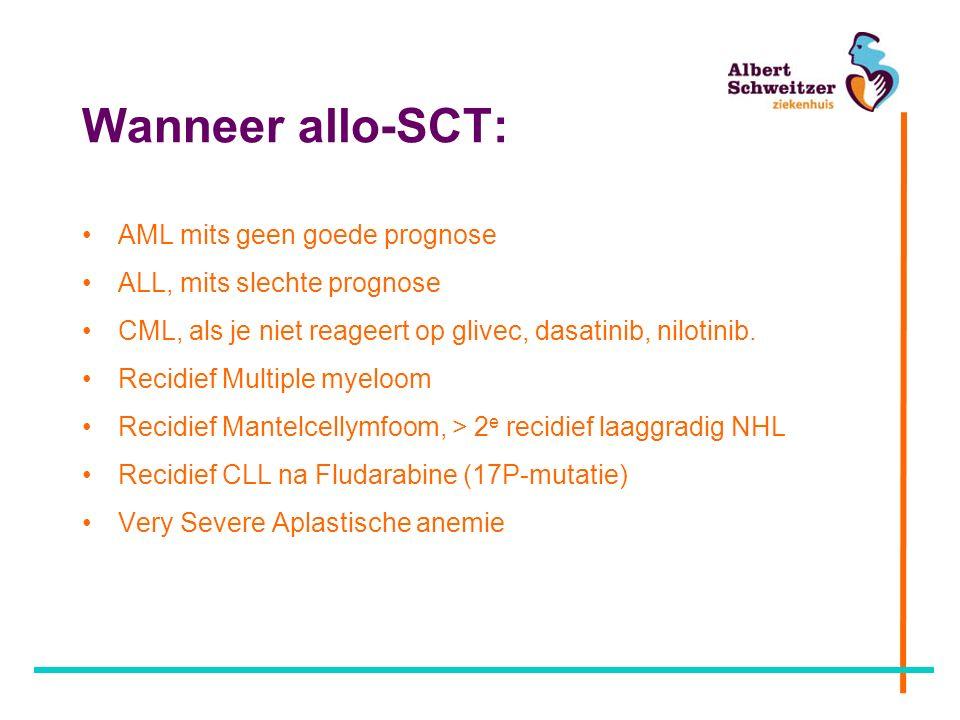 Wanneer allo-SCT: AML mits geen goede prognose ALL, mits slechte prognose CML, als je niet reageert op glivec, dasatinib, nilotinib.