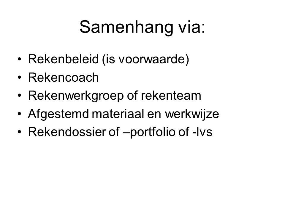 Samenhang via: Rekenbeleid (is voorwaarde) Rekencoach Rekenwerkgroep of rekenteam Afgestemd materiaal en werkwijze Rekendossier of –portfolio of -lvs
