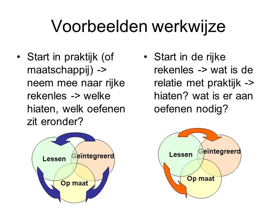 Voorbeelden werkwijze Start in praktijk (of maatschappij) -> neem mee naar rijke rekenles -> welke hiaten, welk oefenen zit eronder.