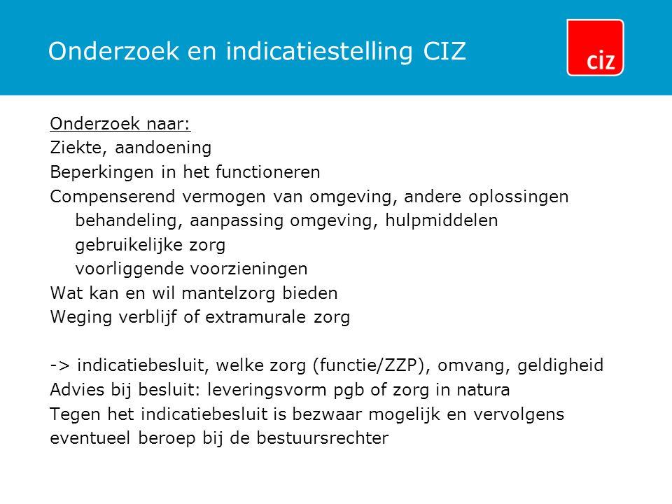 Onderzoek en indicatiestelling CIZ Onderzoek naar: Ziekte, aandoening Beperkingen in het functioneren Compenserend vermogen van omgeving, andere oplos