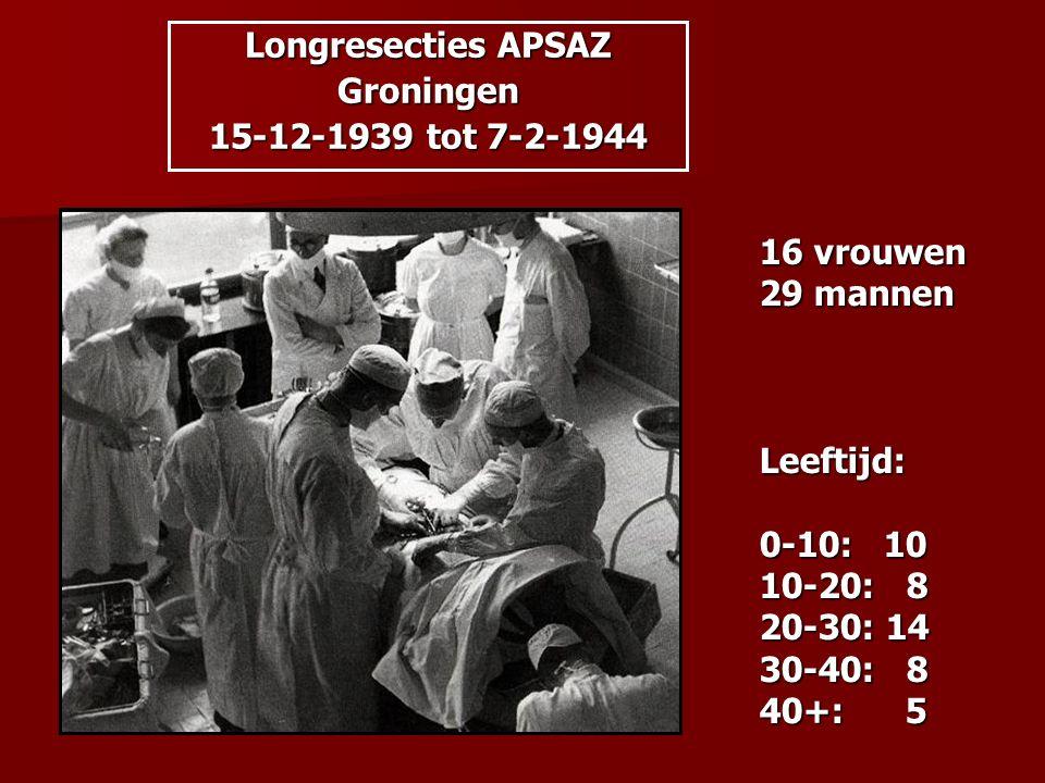 16 vrouwen 29 mannen Leeftijd: 0-10: 10 10-20: 8 20-30: 14 30-40: 8 40+: 5 Longresecties APSAZ Groningen 15-12-1939 tot 7-2-1944