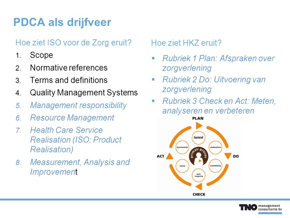 Risicomanagement in ISO 9001 voor de zorg (EN 15224) Norm 5.1 Management commitment  ensuring that clinical risk management is an integrated part of the quality management system Norm 7.1b Planning of product (healthcare service) realization  the organization shall determine risk assessment in order to design appropriate clinical and other processes considering the quality characteristics Norm 7.3.1.Design and development planning  the organization shall determine approaches for risk assessment in each stage Norm 8.4 Analysis of data  The analysis of data shall provide information relating to determined clinical risks, near misses, incidents and adverse events