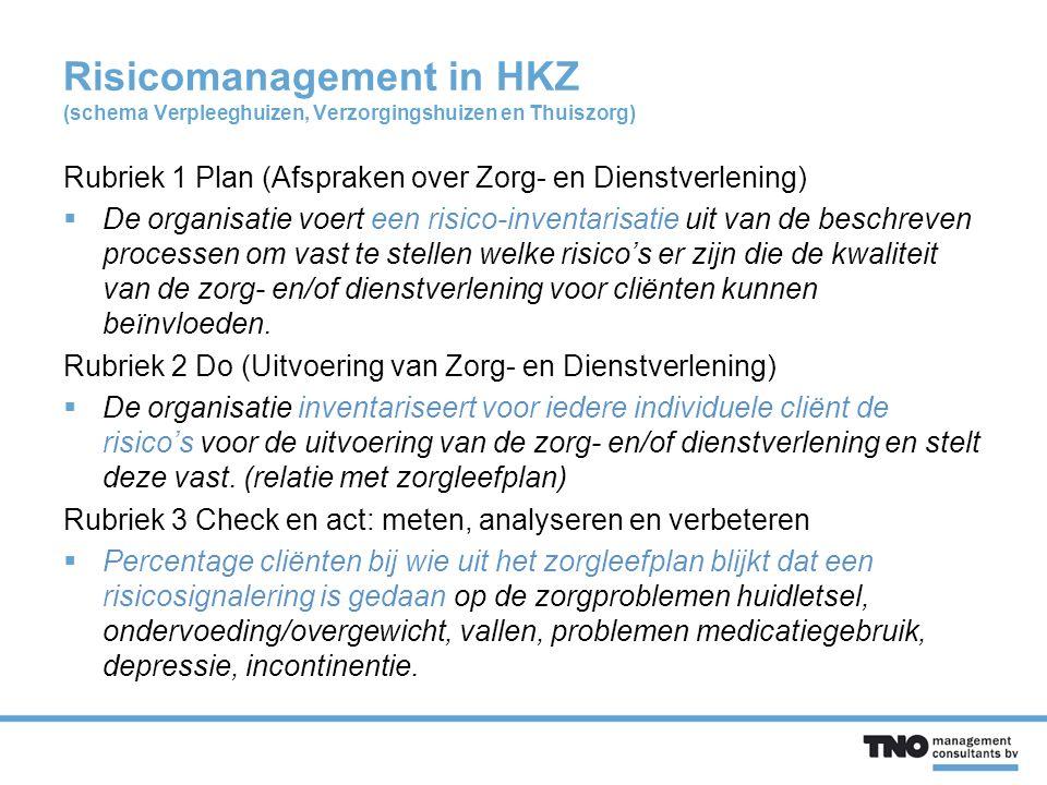 Risicomanagement in HKZ (schema Verpleeghuizen, Verzorgingshuizen en Thuiszorg) Rubriek 1 Plan (Afspraken over Zorg- en Dienstverlening)  De organisatie voert een risico-inventarisatie uit van de beschreven processen om vast te stellen welke risico's er zijn die de kwaliteit van de zorg- en/of dienstverlening voor cliënten kunnen beïnvloeden.