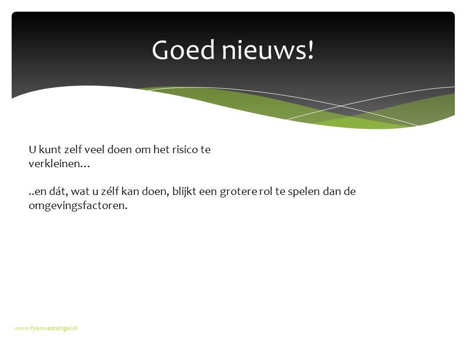Goed nieuws! www.fysiowestsingel.nl U kunt zelf veel doen om het risico te verkleinen…..en dát, wat u zélf kan doen, blijkt een grotere rol te spelen