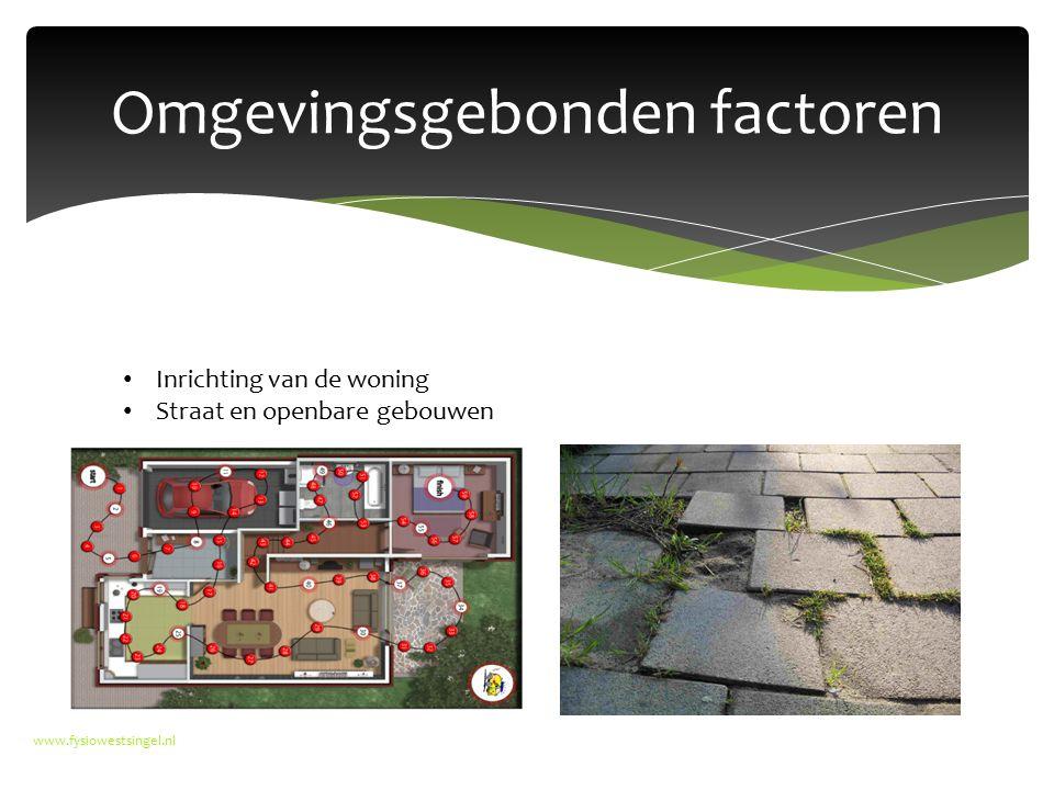 Omgevingsgebonden factoren www.fysiowestsingel.nl Inrichting van de woning Straat en openbare gebouwen