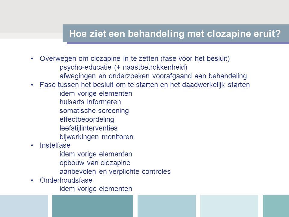 Hoe ziet een behandeling met clozapine eruit? Overwegen om clozapine in te zetten (fase voor het besluit) psycho-educatie (+ naastbetrokkenheid) afweg