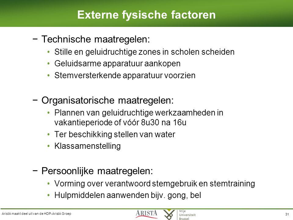 AristA maakt deel uit van de HDP-AristA Groep 31 Externe fysische factoren −Technische maatregelen: Stille en geluidruchtige zones in scholen scheiden Geluidsarme apparatuur aankopen Stemversterkende apparatuur voorzien −Organisatorische maatregelen: Plannen van geluidruchtige werkzaamheden in vakantieperiode of vóór 8u30 na 16u Ter beschikking stellen van water Klassamenstelling −Persoonlijke maatregelen: Vorming over verantwoord stemgebruik en stemtraining Hulpmiddelen aanwenden bijv.